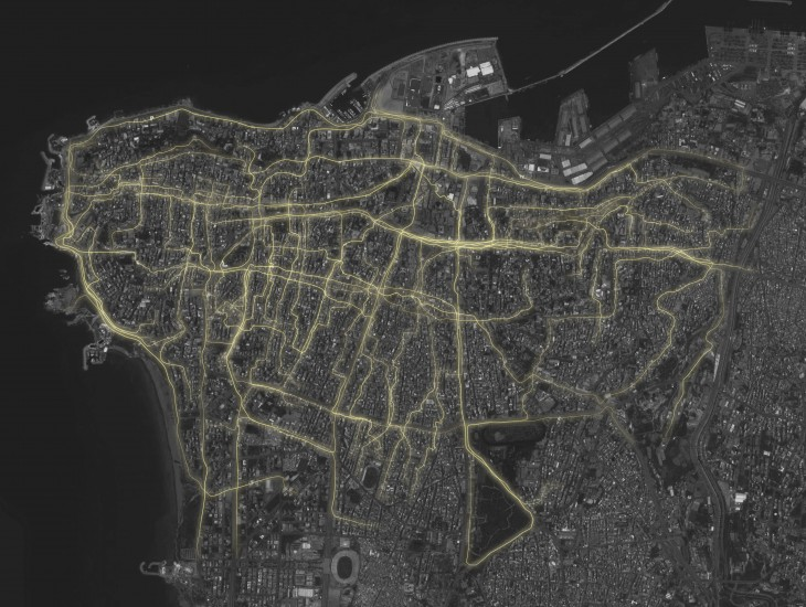 Map showing the 45 tracks mapped by the dwellers moving inside the city.