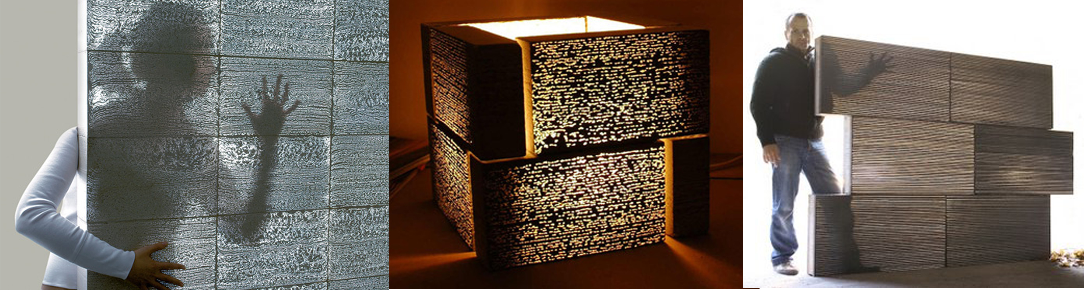 This special concrete tile allows light to pass through. The tile contains  optical fibers that make up about 5% of its surface area.
