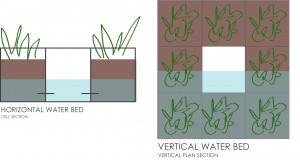 Water level distribution horizontal and vertical.
