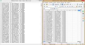 Geo location data in txt. format and in xml. format. The latter is used to clean and organize data from the software.