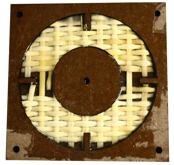 Bamboo fibers with Liquid  Resin set to harden using mdf