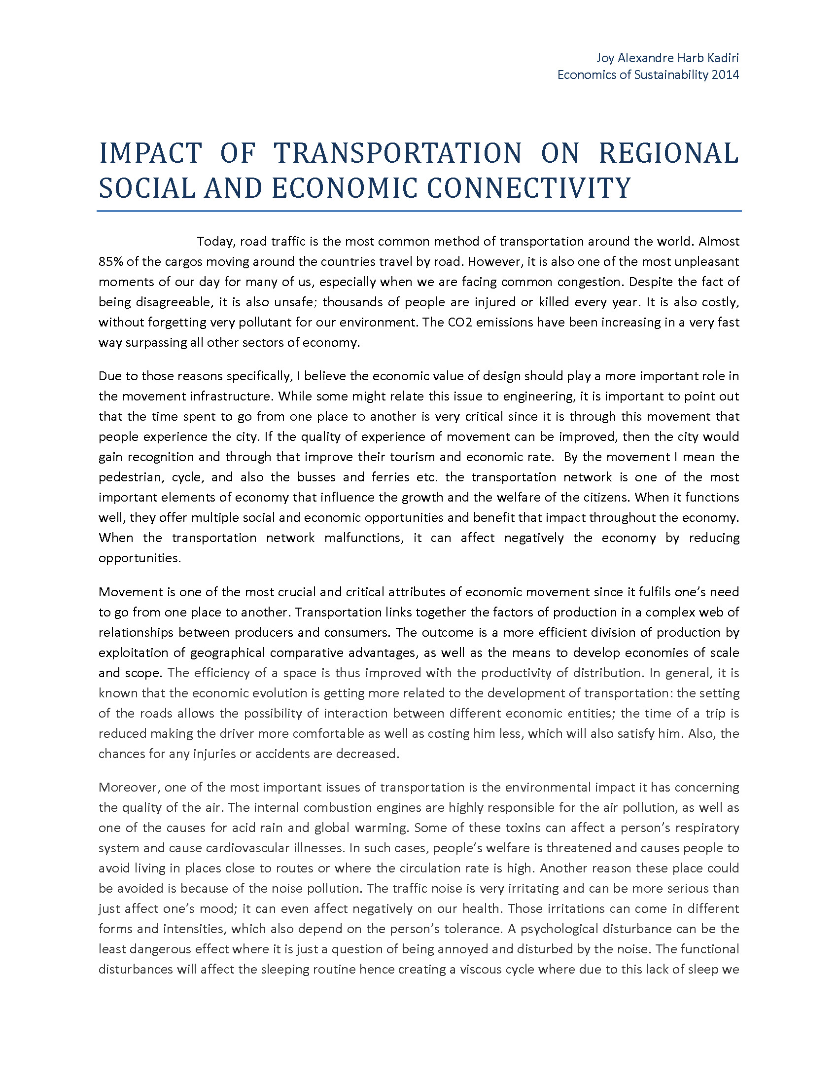transportations effect on social and economic 1 assessment of economic, social and environmental effects of rail urban projects rocío cascajo transyt – transport research centre universidad politécnica de madrid.