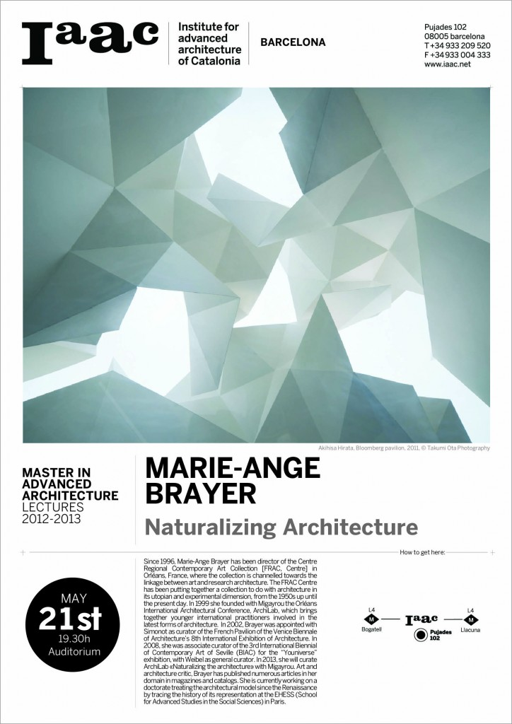 MARIE-ANGE BRAYER LECTURE at IAAC