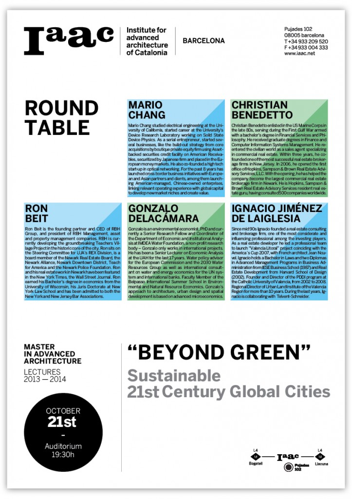 "IAAC ROUND TABLE ""BEYONG GREEN"""